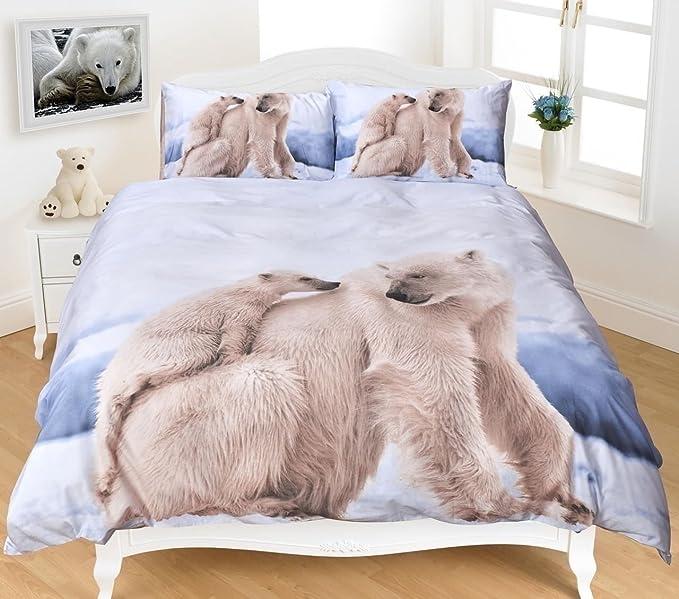 Sleepdove® King Ours polaire 2d avec housse de couette Taie d'oreiller Parure de lit de taille king