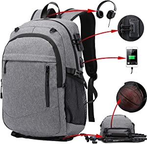 17.3 inch Laptop Backpack, Water Resistant Sports Basketball Backpack Soccer Backpack with USB Charging Port/Lock/Headphone Jack, Anti Theft Travel College School Backpack for Women Men