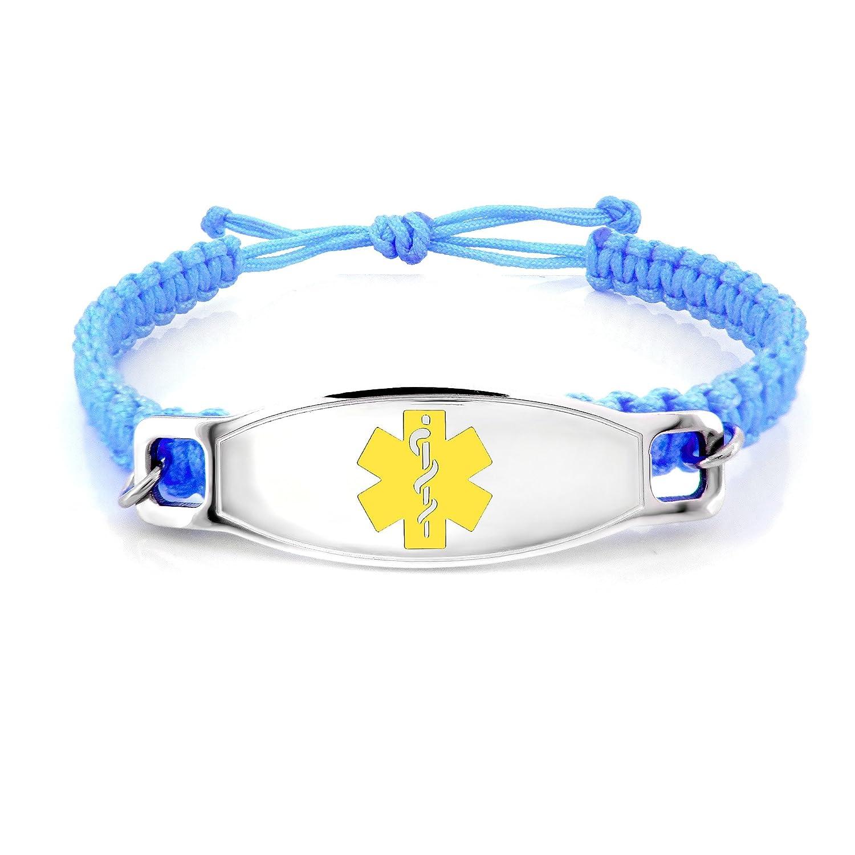 MedicEngraved Kids Blue Macrame ID Bracelet 316L Stainless Steel Medical Tag Engraving Included