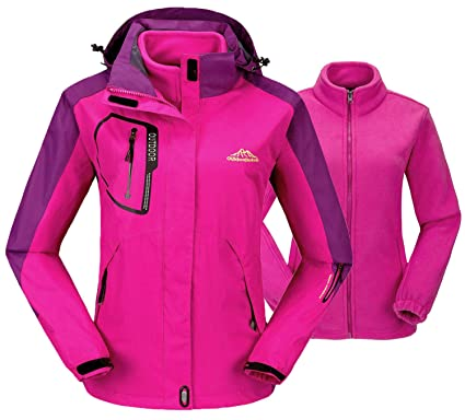 10200770881 TBMPOY Women s 3-in-1 Winter Jacket Outdoor Waterproof Softshell Rain Jacket (Pink