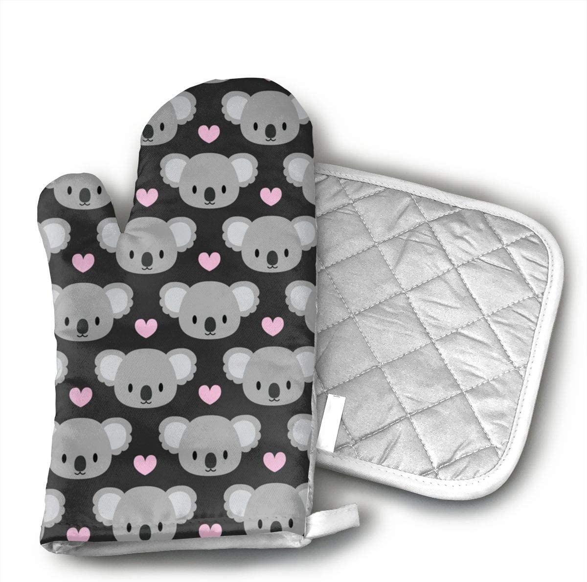 ujd Cute Koalas And Pink Hearts Neoprene Oven Mitts and Potholder Set-Heat Resistant Oven Gloves to Protect Hands and Surfaces with Non-Slip Grip, Hanging Loop-Ideal for Handling Hot Cookware Items