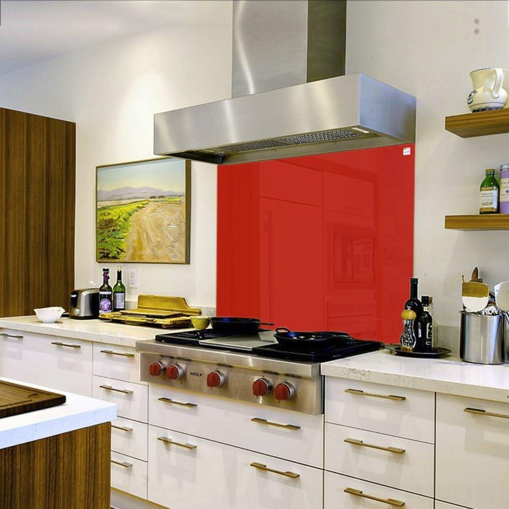Compra Pantalla antisalpicaduras de cristal/Panel de vidrio templado para cocina, 75 x 60 cm, Rojo en Amazon.es