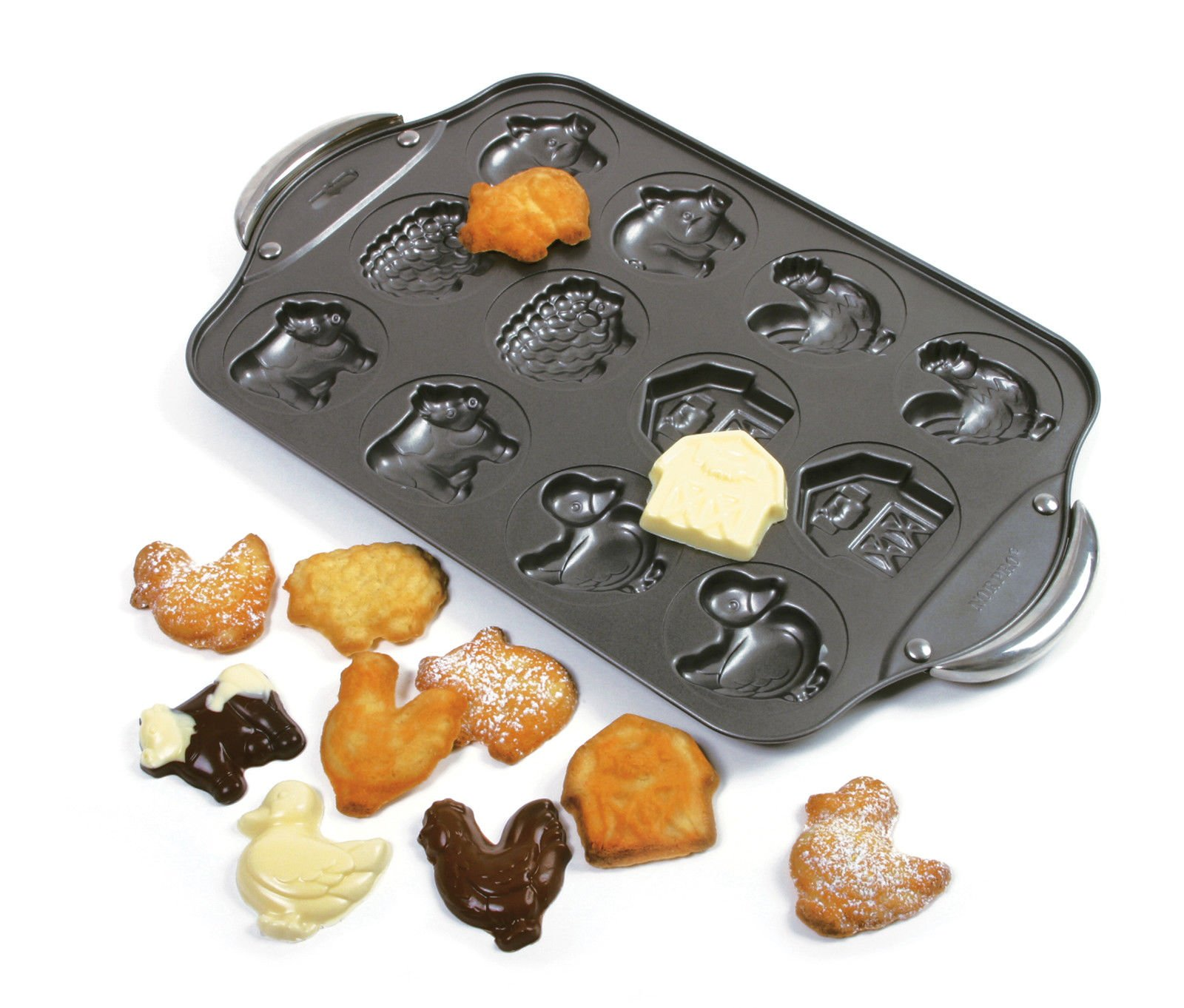 Kitchen, Dining & Bar Animal Farm Cookie Candy Pan 12 Molds Nonstick