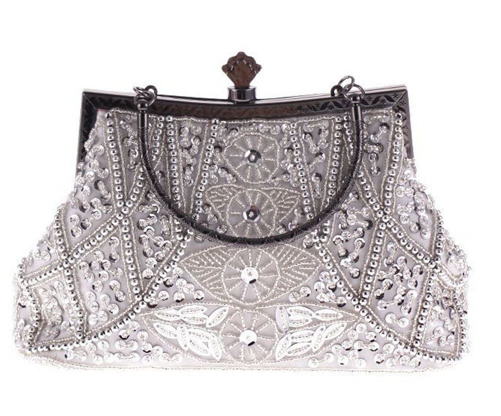 Jezozo Women's Vintage Style Beaded And Sequined Evening Bag Silver Wedding Party Handbag Clutch Purse by Jezozo