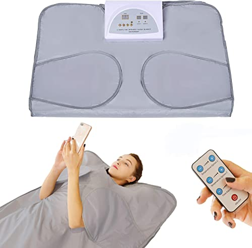 PinJaze Infrared Sauna Blanket, 71 L 32 W 2-Zone Digital Control Personal Sauna,Sauna Blanket for Weight Loss and Detox at Home,2020 Upgraded Version 110V US Plug with Button Battery Silver