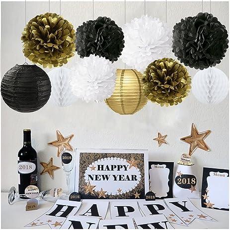 new years decorations gold black white party decor kit tissue paper pom poms flower paper lantern