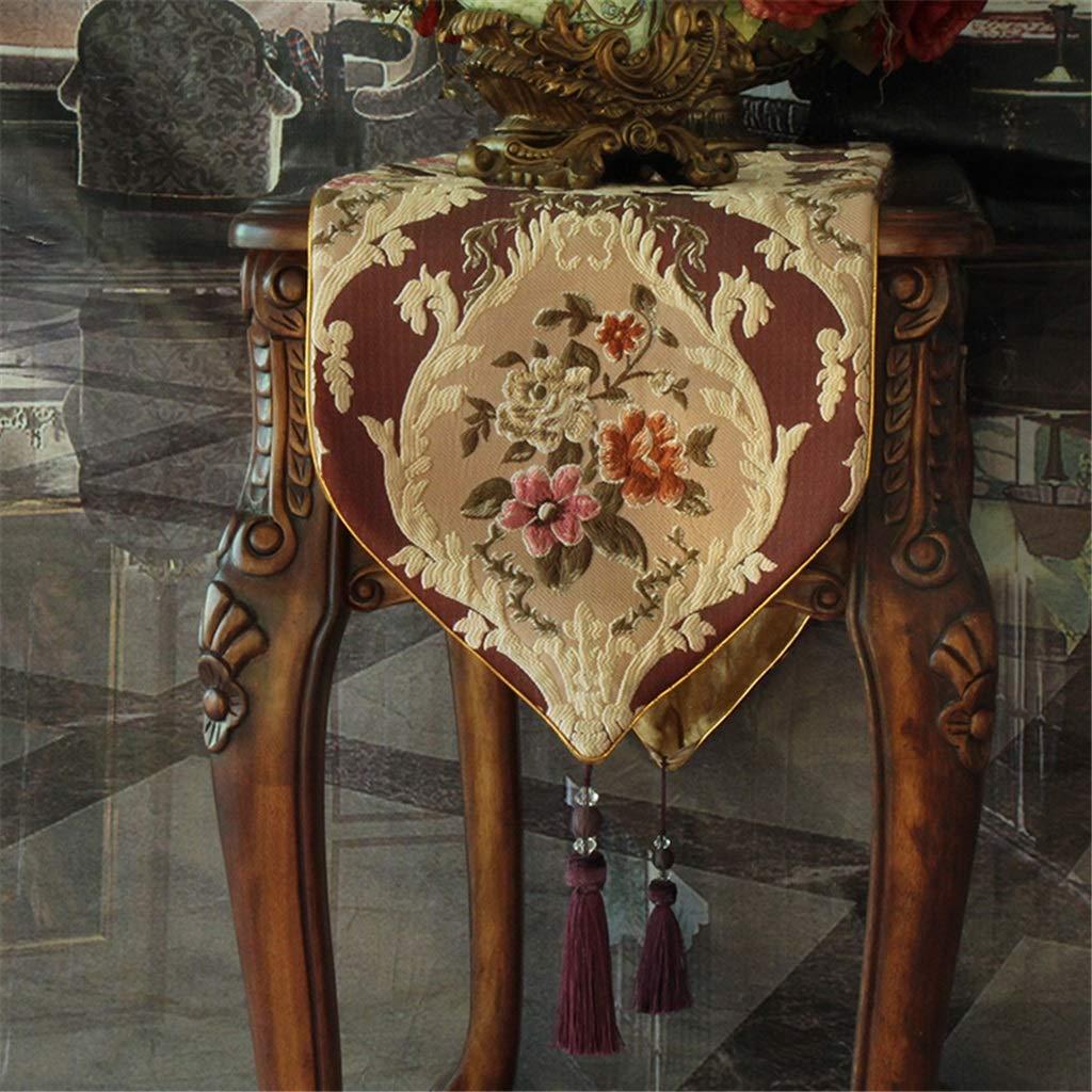 A 35x160cm Chemins de table européens Drapeau de table Chenille haut de gamme Tissu de luxe Tissu TV Cabinet Serviette Lit Drapeau (Couleur   A, taille   35x240cm)