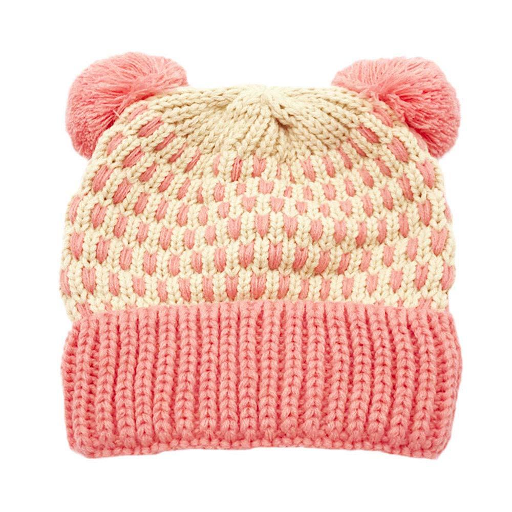 Inkach Baby Beanie Hats Pom Poms, Crochet Knitted Hat Hairball, Winter Warm Slouchy Skull Cap (Pink)