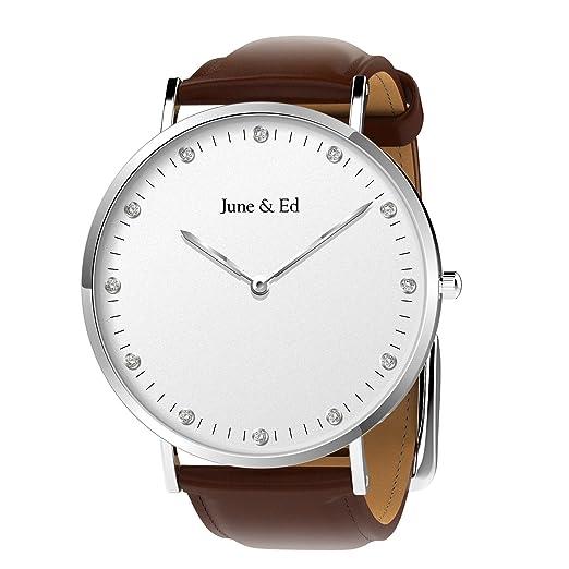 161fff1d225a June   Ed Cuarzo Acero Inoxidable Correa Reloj de pulsera para Hombre con  la ventana del