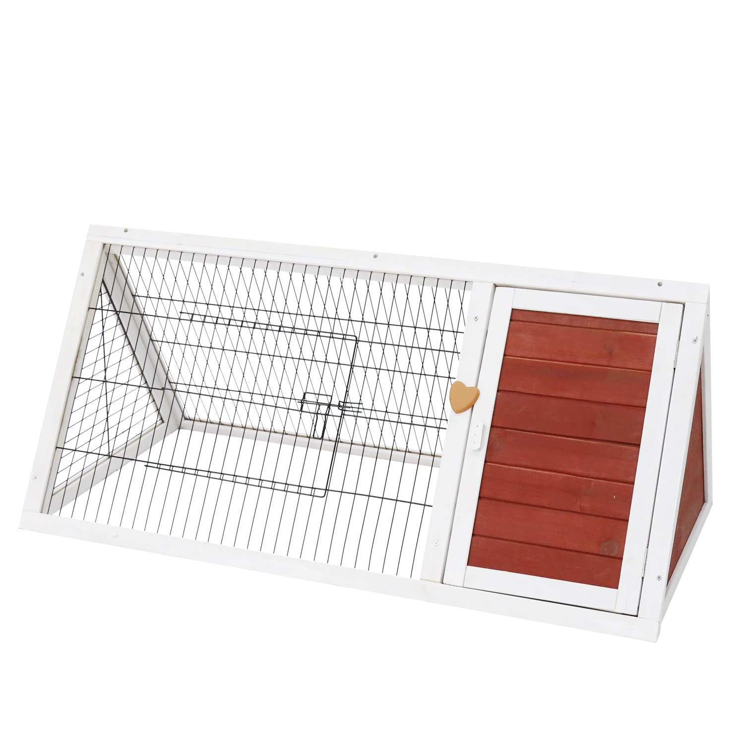 Kinbor Outdoor Triangular Wooden Bunny Rabbit Hutch/Guinea Pig House with Run