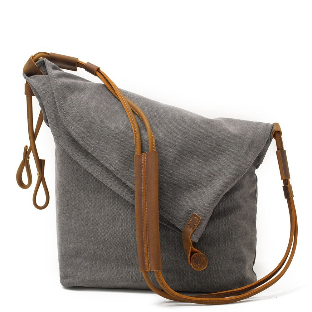 Color : Gray Sunmiao Simple Retro Large Capacity Zipper Dumplings Canvas Shoulder Bag Messenger Bag