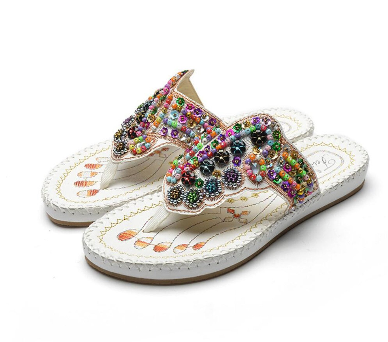 GDXH Frauen Flip-Flops Sommer Strand Hausschuhe Bestickt Perlen Klippzehe Flache Ferse ethnischen Stil Mode Sandalen (schwarz weiß 35-41) Mode Hausschuhe
