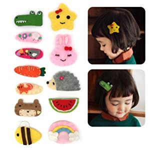 Elesa Miracle Baby Girl Hair Clips Barrettes Animal Pattern Felt Snap Clips Hair Bows for Toddlers Girl Kids