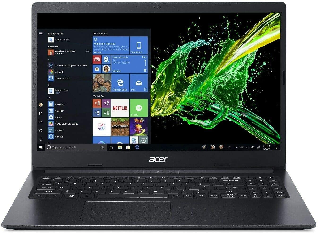 "Acer Aspire 1 15.6"" Laptop Intel Celeron N4000 1.1GHz 4GB Ram 64GB Flash Win10HS (Renewed)"
