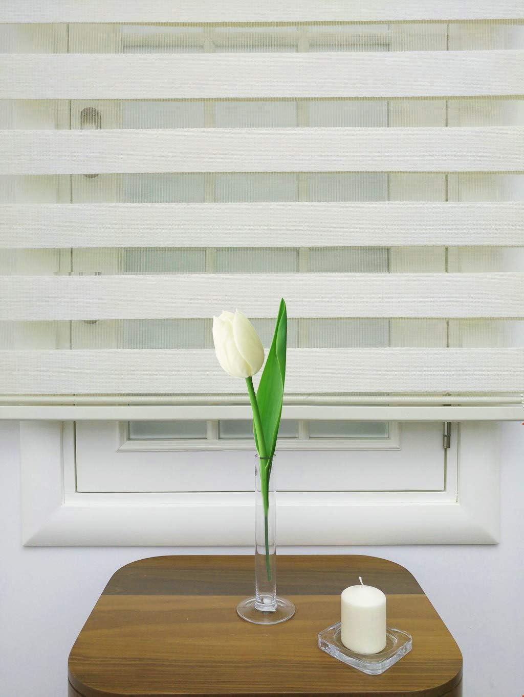 A O Curtains for Living Room 39 inch Zebra Roller Shade Zebra Blind Ivory
