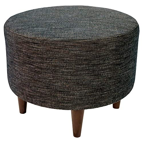 MJL Furniture Designs Sophia Collection Lucky Series Contemporary Round Ottoman, Brown Black Wooden Legs