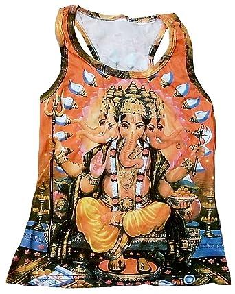 TICILA Mujer Tank Top Camiseta Naranja Hindu Deity God Lord Ganesh ...
