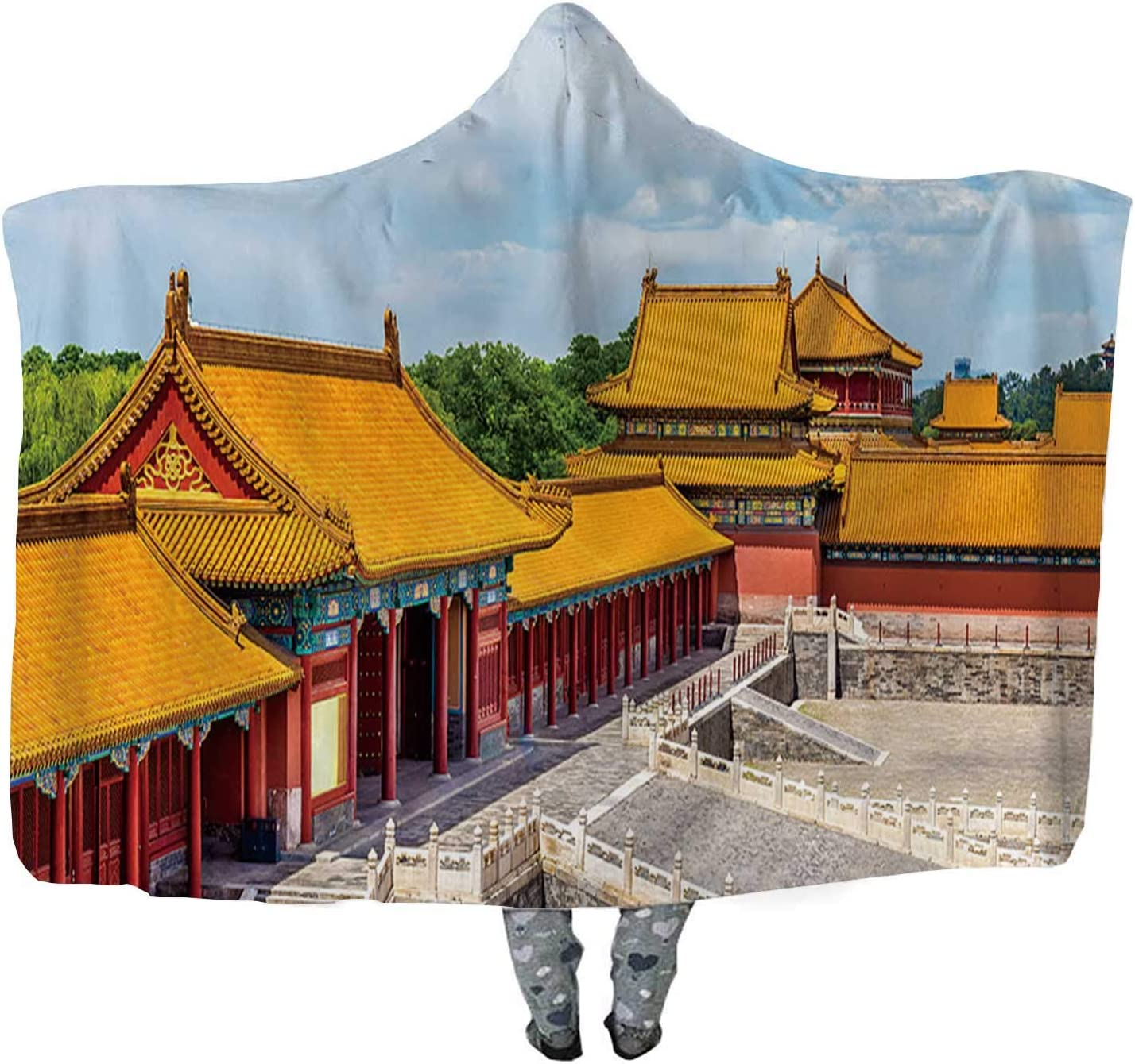 View of The Forbidden City or Palace Museum Beijing Throw Wearable Hooded Blanket,Adult Double Thickening Wearable Blanket,052624,60''x40''H