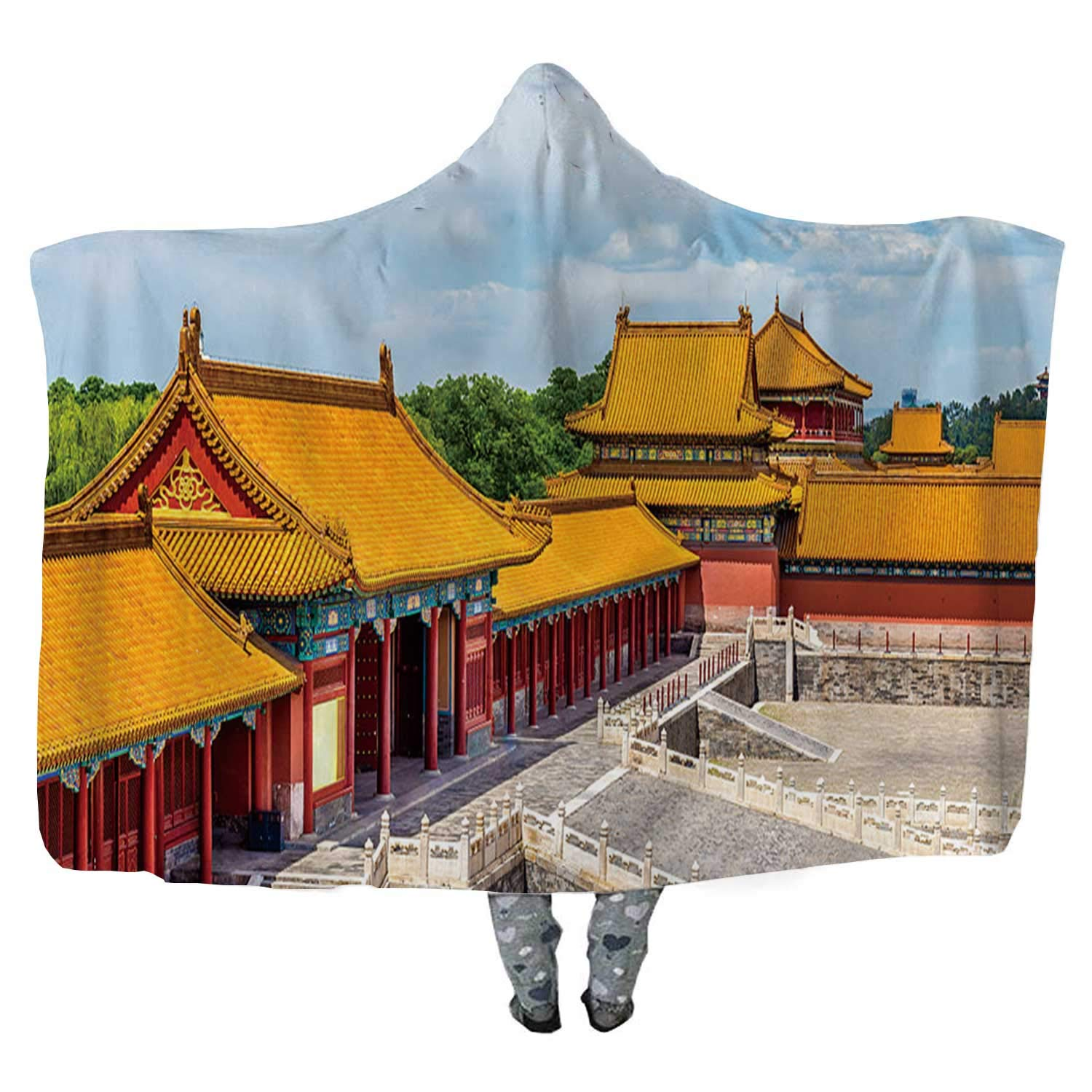 View of The Forbidden City or Palace Museum Beijing Wearable Blanket,Microfiber Fleece Soft Warm Winter Novelty Wearable Blanket,052624,60''W x 50''H