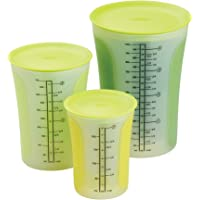Chef'n SleekStor Pinch+Pour 3-Piece Measuring Beaker Set with Lids (Arugula)