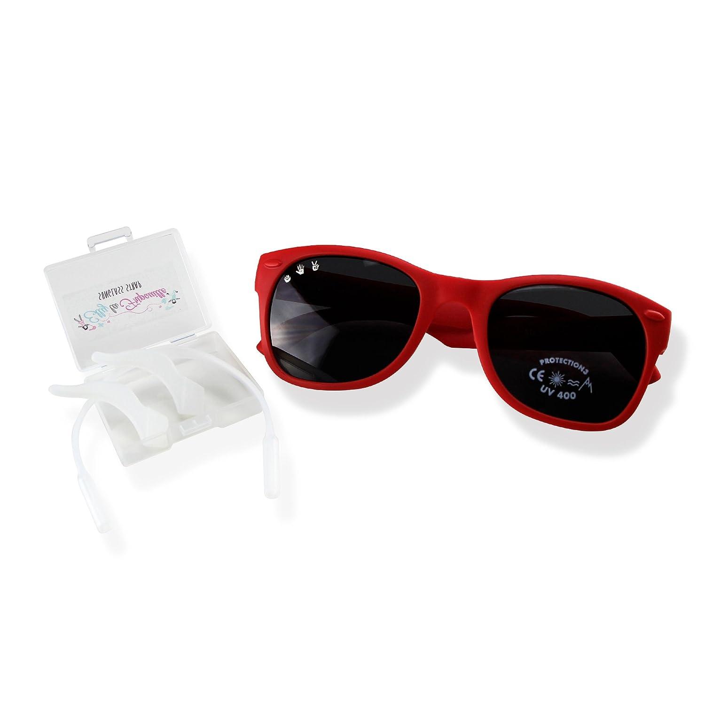 457d697d55 Elly La Fripouille Lunettes de Soleil de 0 à 12ans - Made In Italy -  Incassable - 100% protection UVA/UVB CE UV400 - Mixte - Avec Strap  [1540964388-61882] ...