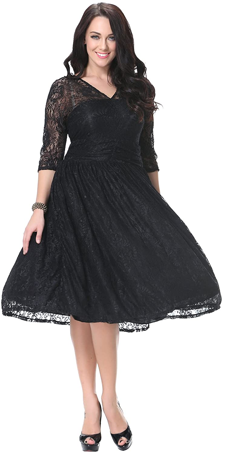 Fashciaga Women's Sexy V-Neck Lace Bubble Dress