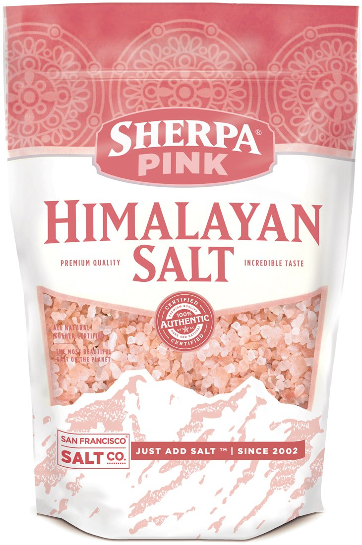 Sherpa Pink Authentic Himalayan Coarse Salt (2lb Bag). Ideal for Salt Grinders & Salt Mills