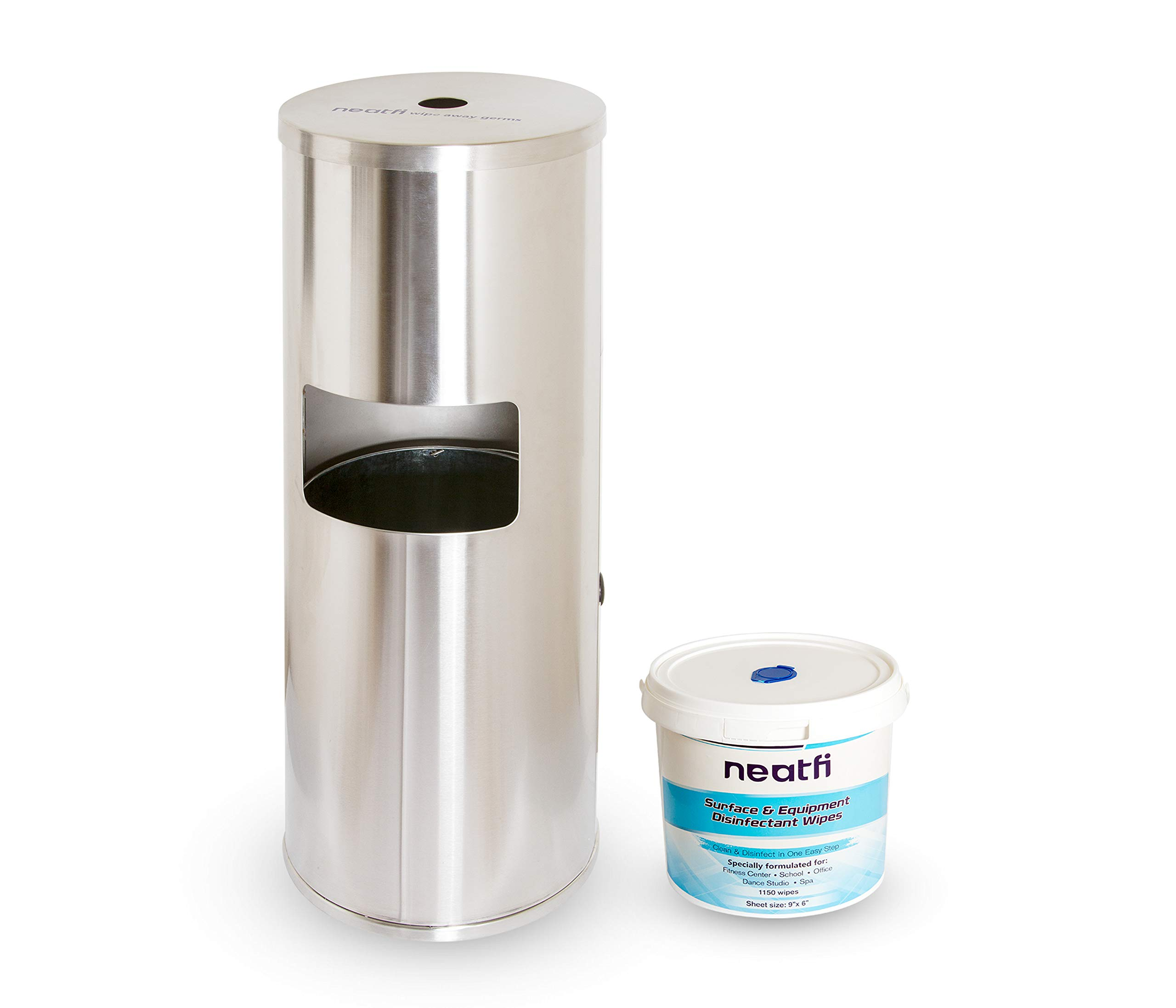 NeatFi Floor Standing Stainless Steel Gym Wipe Dispenser with High Capacity Built-in Trash Can and Easy Back Door Access + Wipe Holding Bucket