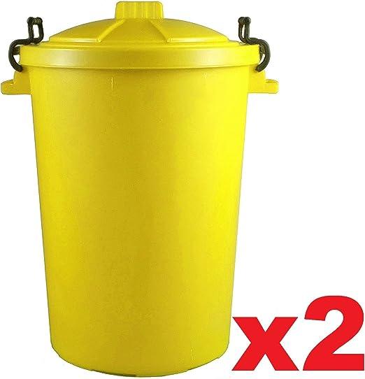 2 x amarillo 85 litros 85L Extra grande color plástico cubo de la basura papelera de