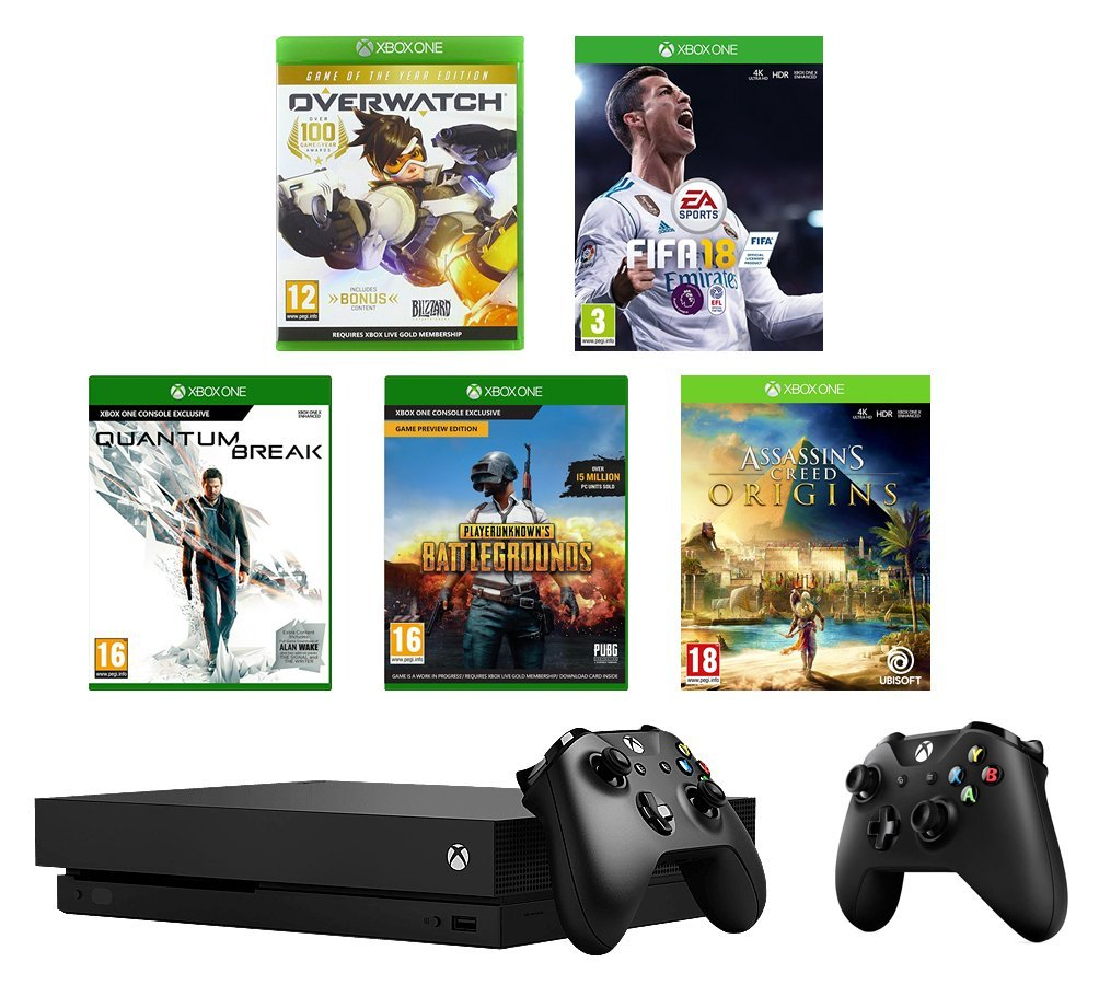 Xbox One X 1TB + Controller + FIFA18 + PUBG + Overwatch +