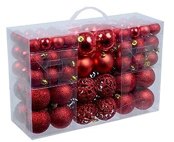Amazon De 100 Weihnachtskugeln Rot Glanzend Glitzernd Matt