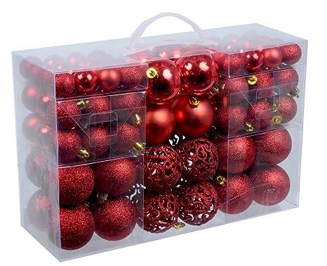Christbaumkugeln Amazon.Exklusives Weihnachtskugeln Christbaumkugeln Set Mit 100 Stueck Farbe Rot