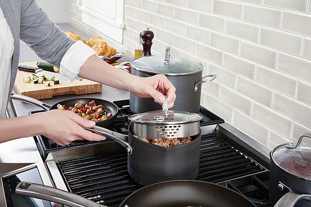 Calphalon Classic Nonstick Sauce Pan with Cover, 2.5 Quart, Grey by Calphalon (Image #3)