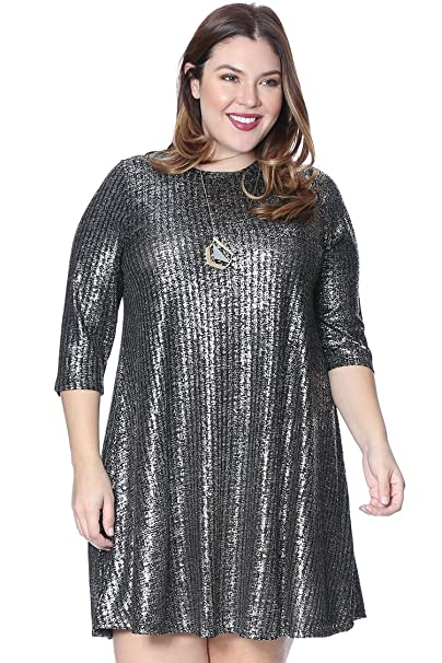 Grayson Shop Plus Size Metallic Knit Dress
