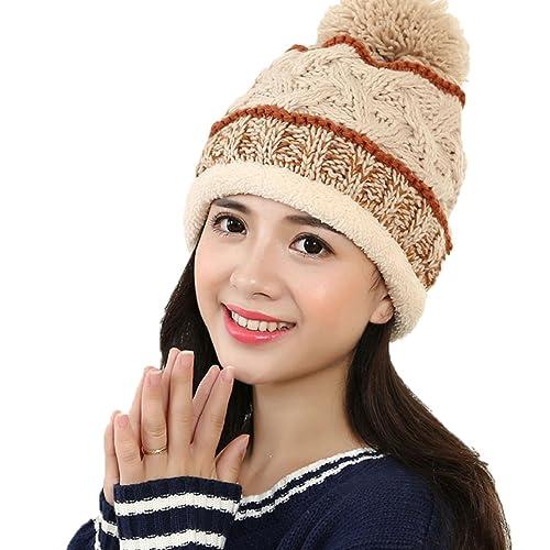 Tuopuda® Mujeres Invierno Crochet Sombrero de Punto Caliente Gorros Con Pompon