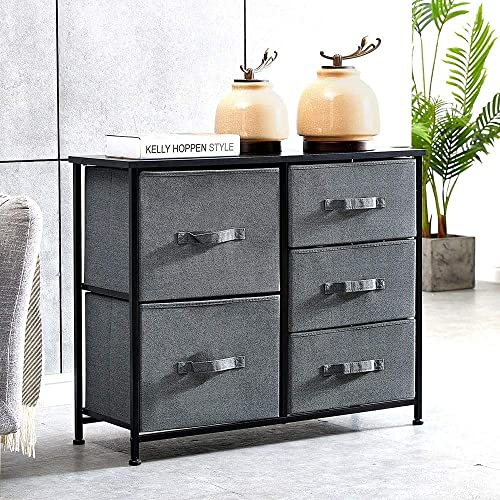 nozama 5 Fabric Drawer Dresser Storage Chest