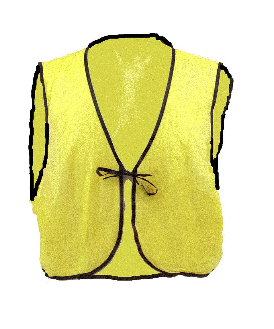 ArcMate Economy Safety Vest, Soft Vinyl with Tie Closure for Identifying Staff and Volunteers, Yellow, Large (70-LFZ4-6IS0)