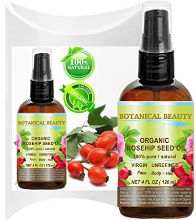 Botanical Beauty ORGANIC ROSEHIP OIL 100 Pure. For Face, Hair and Body. 4 Fl.oz.- 120 ml.