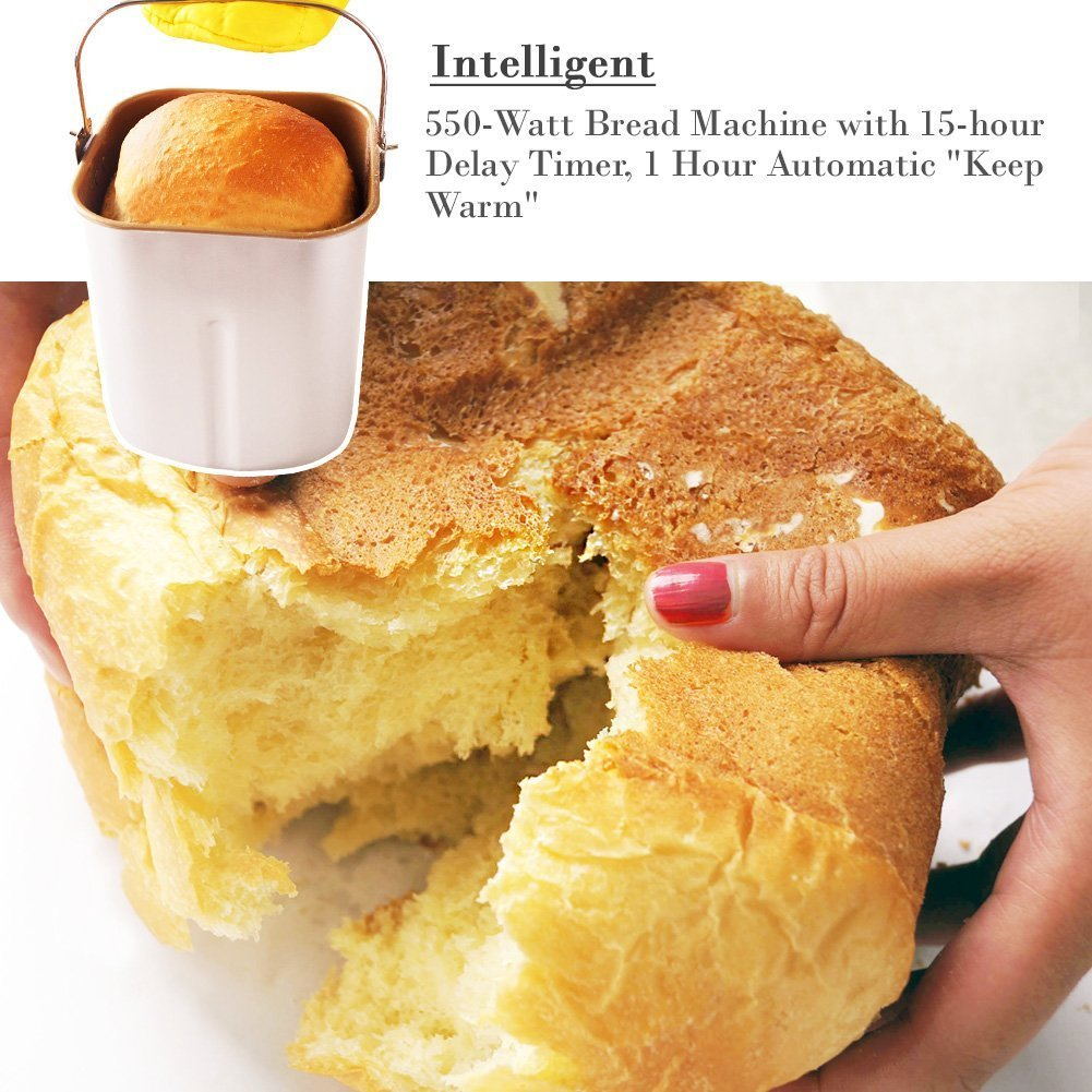 Amazon.com: SKG Automatic Bread Machine 2LB - Beginner Friendly  Programmable Bread Maker (19 Programs, 3 Crust Colors, 3 Loaf Sizes, 15  Hours Delay Timer, 1 ...