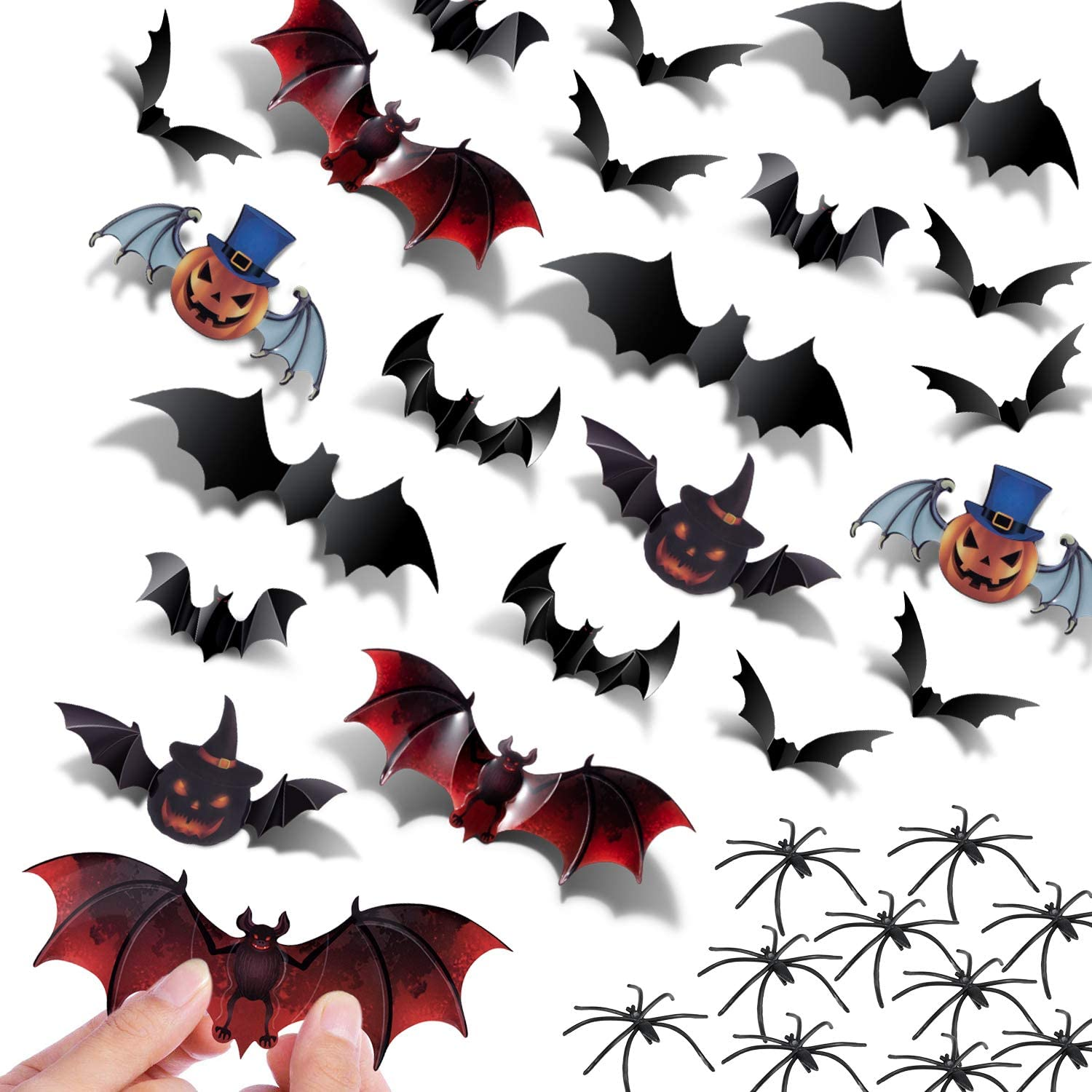 Halloween Bats Decorations Party Supplies - 120PCS 3D Bats Wall Decals Stickers 60PCS Halloween Spooky Spiders Scary Party Favors for Home Office Window Halloween Decorations