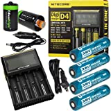Nitecore D4 Digicharge universal home/in-car battery charger, Four Olight 18650 3400mAH rechargeable batteries with 2 X EdisonBright AA to D type battery spacer/converters
