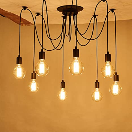 Vintage Industrial Hanging Chandelier Lighting Edison Light Bulb Lamp 110V 60W E26 Spider Ceiling