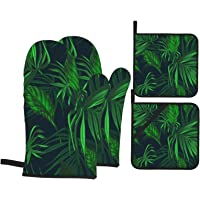 VBTDEGAB Green Tropical Jungle Plant Oven Mitts and Pot Holders Sets 4pcs Set, Oven Mitts, Versatile Hot Pad, High Heat…