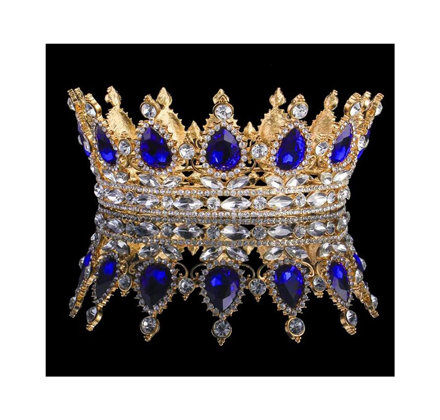18K Gold plated royal blue Crystal Queen King Crown Wedding Prom Party Pageant