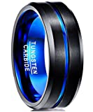 Amazon Price History for:Nuncad Men's 8mm Blue & Black Tungsten Carbide Ring Matte Finish Beveled Grooved Wedding Bands Size 5 to 14