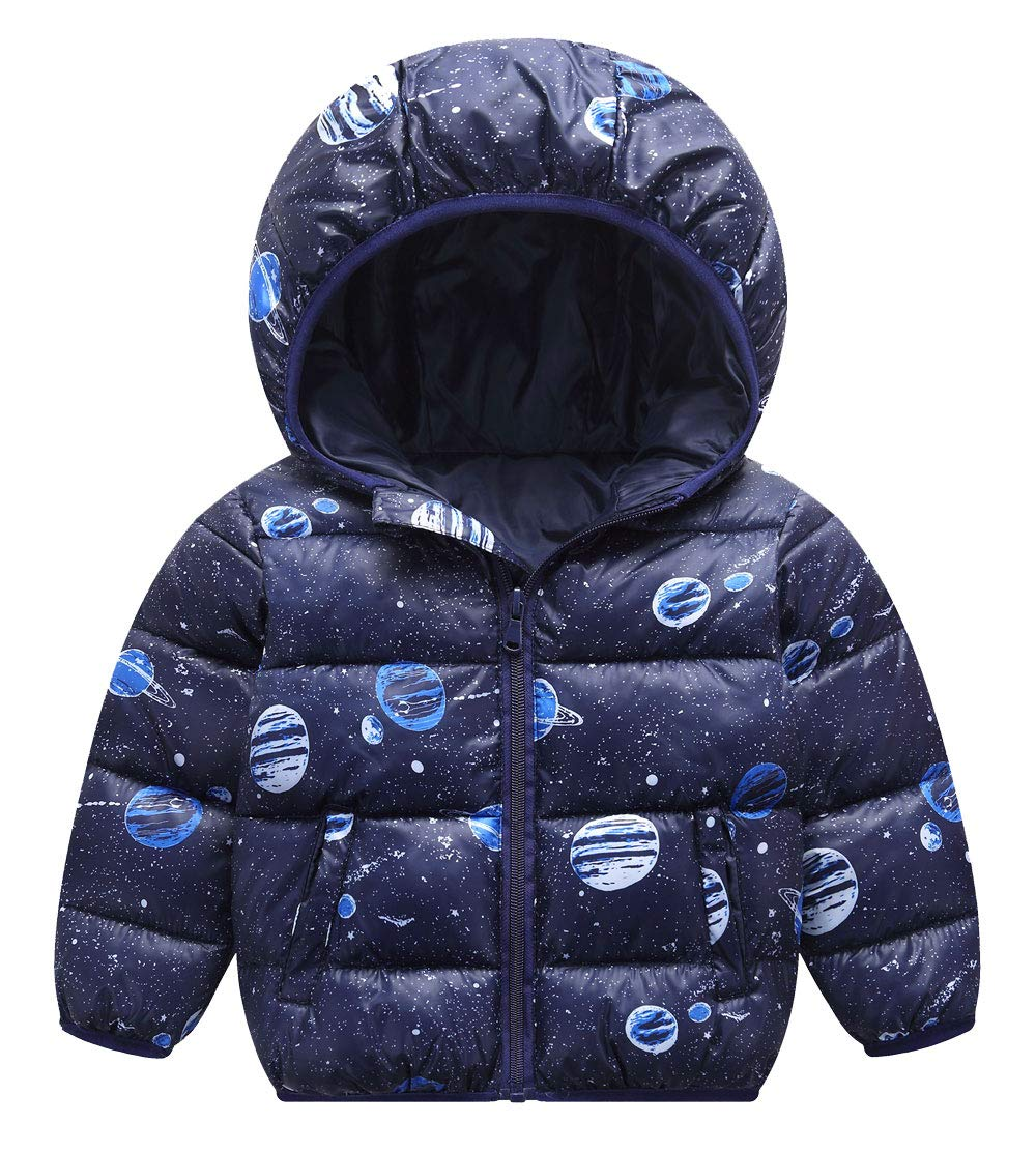 Girl Boy Kids Down Coat Floral Printed Padded Snowsuit Winter Warmer Outwear Clothes White 2-3T HAPPY CHERRY