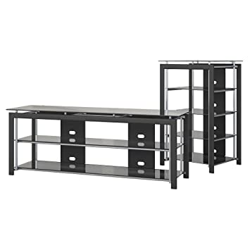 Amazon Com Bush Furniture Midnight Mist Tv Stand And Audio Tower In