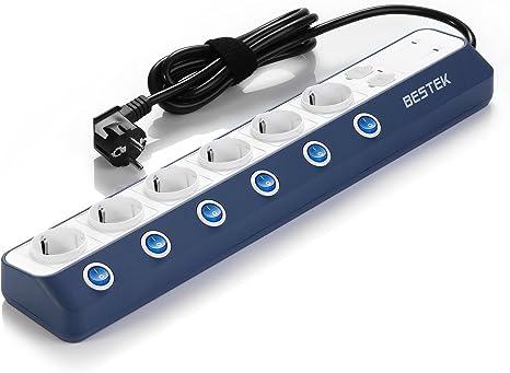 Version Am/élior/ée BESTEK Multiprise Parafoudre et Surtension Multiprises Electrique avec 4 Ports USB,Bloc Multiprise 6 Prises avec Interrupteur Individuel de Lumi/ère Bleu,3600W