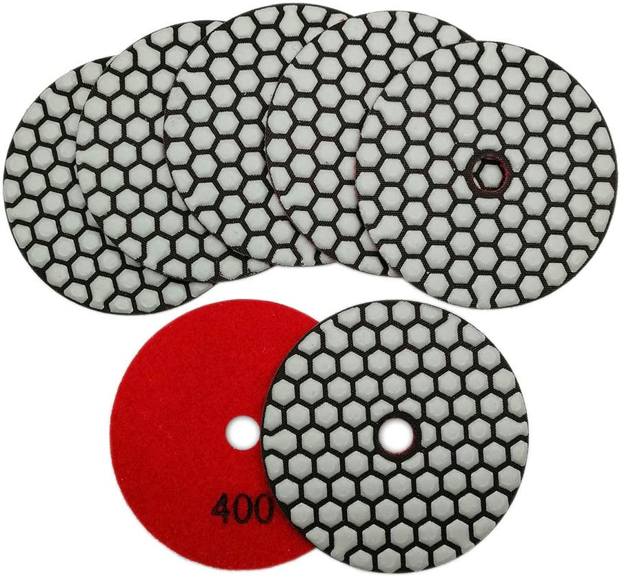 SHDIATOOL 7Pcs Disque Diamant de Polissage 4 Pouces //100mm Sec Diamant Polissage Pads pour Marbre Granite Pierre B/éton #100
