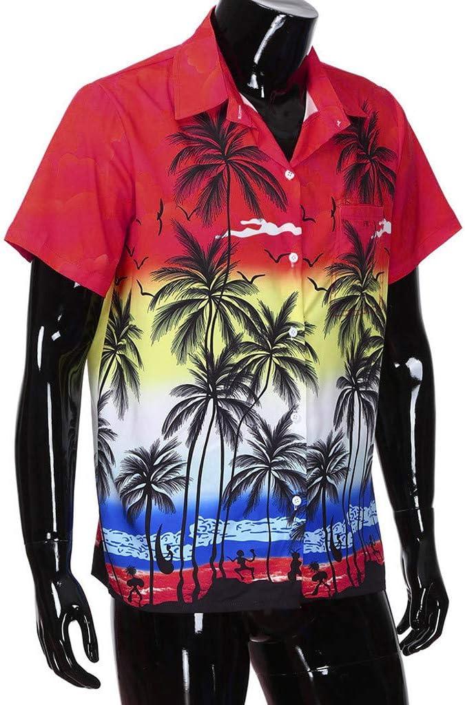 Zolimx Camisa Hawaiana para Hombre, Manga Corta, con